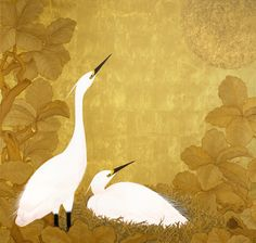 Kudou Muramasa 工藤村正  Two white egrets painted onto a glorious Gold Leaf background.