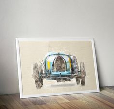 Watercolor Digital Car / Digital Painting / bugatti 35 poster / Instant Download / Watercolor Car / Bugatti Car / Bugatti Printable Poster