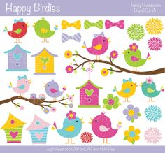 Digital Clipart - Happy Birdies for Scrapbooking, Invitations, Paper crafts, Cards Making, commercial use INSTANT DOWNLOAD printable
