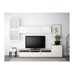 BESTÅ TV-Komb. mit Vitrinentüren - Eichenachbildung weiß las./Selsviken Hochglanz/Frostglas weiß, Schubladenschiene, Drucksystem - IKEA