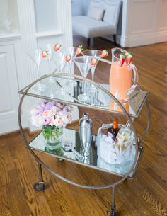 Valentine's Day Bar Cart with Strawberry Martinis by @fashionablehost