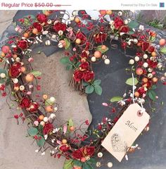 Red Roses & Berries Heart Wreath!