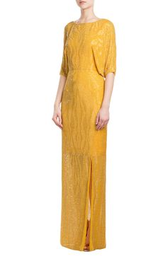 Jenny Packham Bead and Sequin Embellished Floor Length Silk Gown