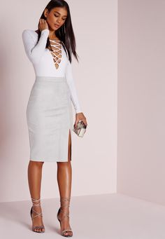 Missguided - Thigh Split Faux Suede Midi Skirt Grey