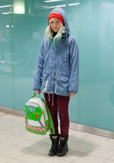 """Jutta, 19 - Hel Looks - Street Style from Helsinki  """"I'm wearing my grandmother's old beanie, my mother's old jacket from the 80s, a backbag from the Disney Store in Paris and woollen socks made by my grandmother.  My style is colourful and carefree.""""    I love everything about this! and her hair is the most beautiful colour!"""