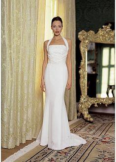 Beautiful Elegant Exquisite Sheath Halter Wedding Dress In Great Handwork