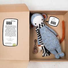 Rada The Rat inspired by Lalylala / Crochet Doll / Handmade Amigurumi… Rat Toys, Paper Toy, Toy Packaging, Crochet Mouse, Pregnancy Gifts, Designer Toys, How To Make Notes, Crochet Animals, Handmade Toys