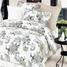 Blancho Bedding Ivory Rose Bed in a Bag Comforter Cover, Comforter Sets, Duvet Cover Sets, Pillow Shams, Bed Pillows, Navy Duvet, Dorm Room Bedding, Bed In A Bag, Aleta