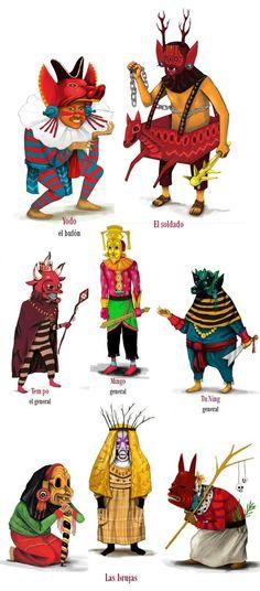 """Diseño de personajes para """"La Doncella Ponzoñosa"""" por Edgar Saner, MX."""