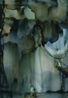 Rain of Blues, alcohol inks on Claybord, ©2012 Andrea Pramuk.  Beautiful impression of rain.