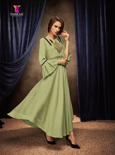 Lovely collection of kurti available at best price. Buy this rayon green party wear kurti. Designer Kurtis, Designer Gowns, Designer Anarkali, Gown Dress Online, Gowns Online, Long Anarkali, Anarkali Kurti, Embroidered Kurti, Party Wear Kurtis