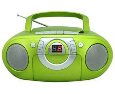 CD-Player in frischem Grün, macht ordentlich Musik in kleinen Räumen, mit Kassettenlaufwerk, LED-Display Sport #Musik #Tanzen #Gymnastik #Sportunterricht #Bewegungsspiel #Hörverstehen Sprachen #Sprachunterricht #Betzold