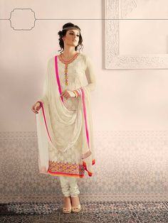 Off White Georgette Churidar Suit 61106