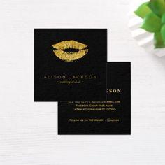 #makeupartist #businesscards - #Faux gold lips on black makeup artist square business card