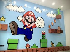 Super Mario Bros 3D Mural... am I too old   for a playroom? Because I know the theme I want. :)
