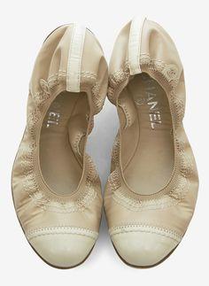 Chanel Tan And Cream Ballet Flat | VAUNTE