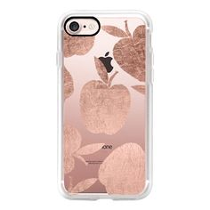 Rose gold apples pattern back to school by Girly Trend - iPhone 7... ($40) ❤ liked on Polyvore featuring accessories, tech accessories, phone, iphone case, iphone cover case, iphone hard case, apple iphone case, iphone cases and print iphone case