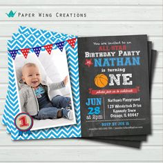 Baby Boy First Birthday Invitation. 1st by ThePaperWingCreation, $15.00