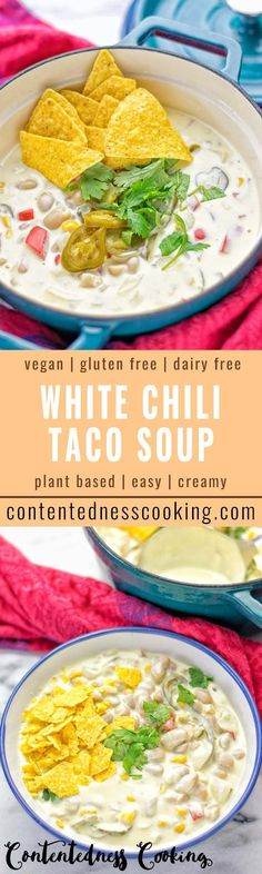 Super Creamy and incredibly easy: This White Chili Taco Soup is entirely vegan, gluten free and packed with amazing flavors. It's delicious for lunch, dinner, potlucks and a must make for everyone. #vegan #glutenfree #dairyfree #vegetarian #mexican #chili #tacosoup #easyfood