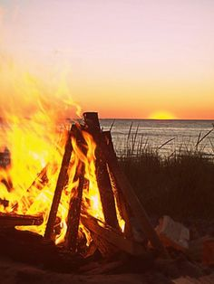 Sound and crackle of a summer bonfire on the beach.