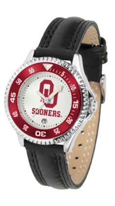 Oklahoma Sooners Competitor Ladies Watch with Leather Band: The hottest sports watch on the… #SportingGoods #SportsJerseys #SportsEquipment