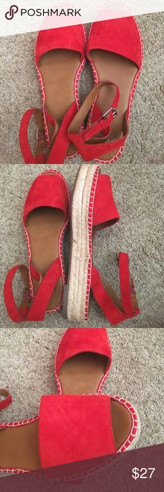 Franco Sarto Red leather upper sandals - size 9.5 Gently used.  Like new. Franco Sarto Shoes Sandals