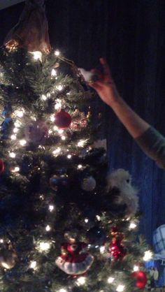 Arista putting on final touches on G'Ma's tree #Xmas2014