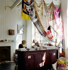 Vintange scarves curtain