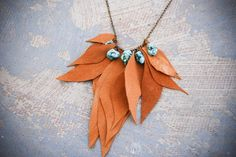 Leather Necklace  Maximum Yellow Leaves with by jessamity on Etsy, $59.00