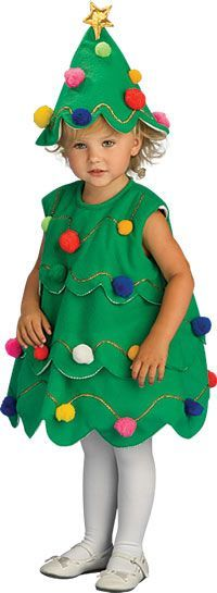 Little Christmas Tree Costume - Christmas Costumes--suitable for boys and girls Christmas Tree Halloween Costume, Christmas Tree Dress, How To Make Christmas Tree, Little Christmas Trees, Toddler Halloween Costumes, Toddler Christmas, Diy Costumes, Xmas Tree, Snowman Costume