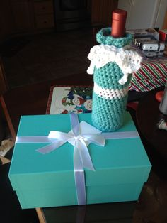 Crocheted Tiffany wine bottle cover.