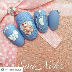 Blue It's a Boy nails by emi_nalchik Crazy Nail Art, 3d Nail Art, Nail Arts, Bling Acrylic Nails, 3d Nails, Cute Nails, Baby Shower Nails, Baby Nails, Hello Nails
