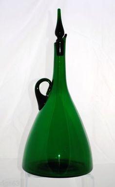 BLENKO emerald green decanter
