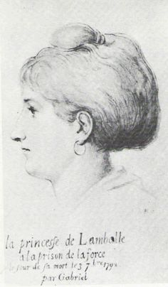 The Princesse de Lamballe, sketched by Gabriel while awaiting 'trial' on the day of her death. Louis Xvi, Victoria And Albert Museum, Marie Antoinette, Prison, Catalogue Raisonne, French Royalty, National Gallery, French History, French Revolution