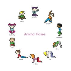 Apparel for the Adventurous Heart by LuxxCultureCo Kids Yoga Book: My First Yoga Animal Poses.Kids Yoga Book: My First Yoga Animal Poses. Yoga For Kids, Exercise For Kids, Kids Yoga Poses, Meditation For Children, Stretches For Kids, Kids Workout, Gross Motor Activities, Preschool Activities, Physical Activities