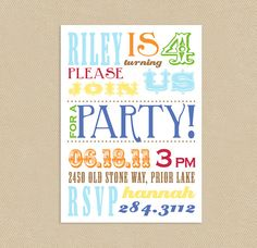 5x7 Colorful Circus Poster Printable Birthday by seedtosprout, $12.00