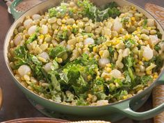 Succotash recipe from Nancy Fuller via Food Network.  Lima beans, corn, kale, bacon, and onions. This was a BIG hit!!