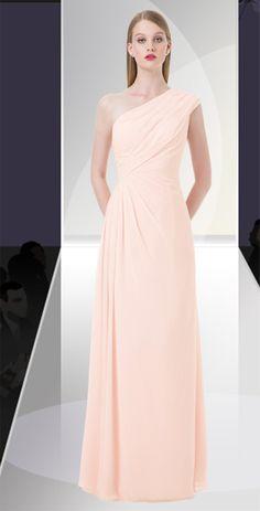 5a7f4edc113f4 Chiffon one shoulder gown with asymmetrical pleats. Bill Levkoff Bridesmaid  Dresses, Prom Dresses,