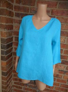 MATCH POINT USA 100% Linen Blouse M Shirt Top HLT185 V Neck 3/4 Sleeve Turquoise #MatchPoint #Blouse #Casual
