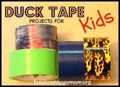 Duck Tape Projects for Kids: Angry Birds Bank Hat Journal Jet Pack LEGO cape and skis! Duct Tape Projects, Duck Tape Crafts, Camping Crafts, Fun Crafts, Crafts For Kids, Sand Art For Kids, Crafty Kids, Busy Kids, Happy Mom