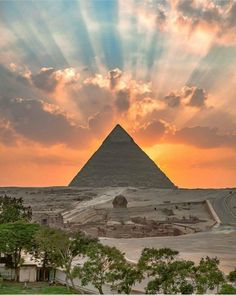 Sunset at  the Giza Pyramid and Sphinx.