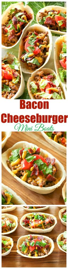 Bacon Cheeseburger Mini Boats - The Girl Who Ate Everything - - These Bacon Cheeseburger Mini Boats take your regular taco up a notch! Beef, bacon, cheese, and all your favorite burger toppings in one taco. Burger Toppings, Food Network, Paprika Pesto, Good Food, Yummy Food, Beef Dishes, Quesadillas, Slow Cooker, Ground Beef Recipes