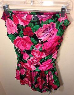 VTG 80s 90s JANTZEN Pink Red Green Floral Bathing Swim Suit Ruffled Skirt 14  | eBay