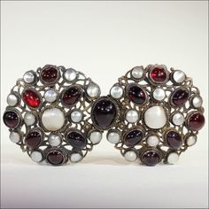 Antique Silver Belt Buckle, Austro-Hungarian Garnet and Mother of from vsterling on Ruby Lane
