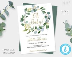 Greenery Baby Shower Invitation Template, Gender Neutral Baby Shower Invite, Girl Baby Shower, Boy B – Babyshowerideas Baby Shower Invitation Templates, Baby Shower Invitations For Boys, Baby Shower Printables, Printable Invitations, Baby Shower Parties, Baby Shower Themes, Baby Shower Decorations, Baby Boys, Gender Neutral Baby Shower