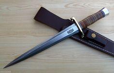 RBH CUSTOM MADE LARGE ARKANSAS TOOTHPICK KNIFE MODEL#13-12 STACKED LEATHE HANDLE #RBH
