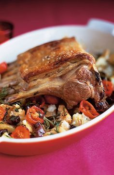 JAMIE OLIVER'S ROASTED RACK OF LAMB with CRUSHED POTATOES, TOMATOES & OLIVES [Jamie Oliver]