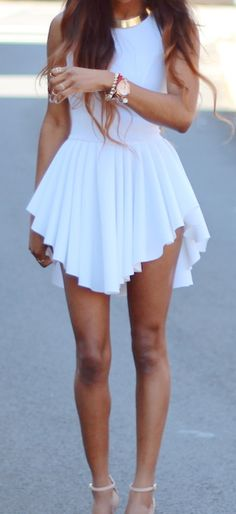 white dress + gold necklace + heels // Marilyn dress