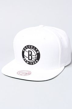 The Brooklyn Nets Solid Snapback Cap in White by Mitchell
