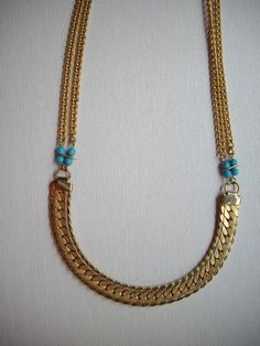 SALE Gold Weave Chain Necklace with by DesignsbyPattiLynn on Etsy